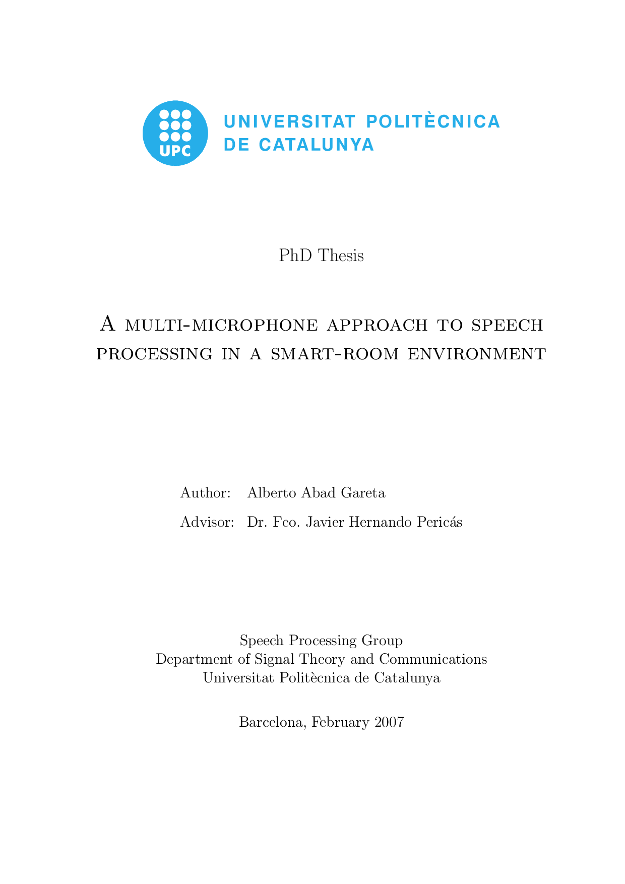Speech processing phd thesis