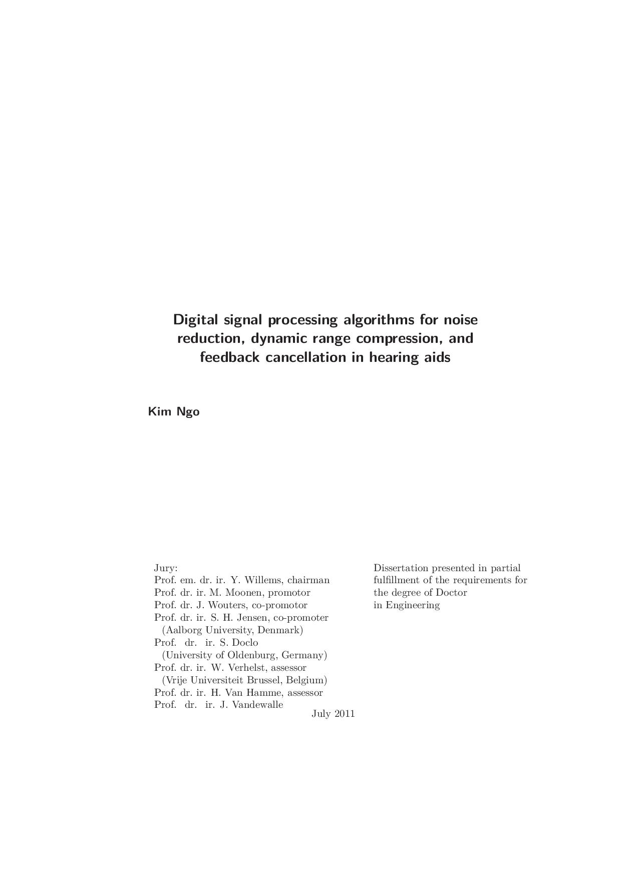 Digital signal processing algorithms for noise reduction