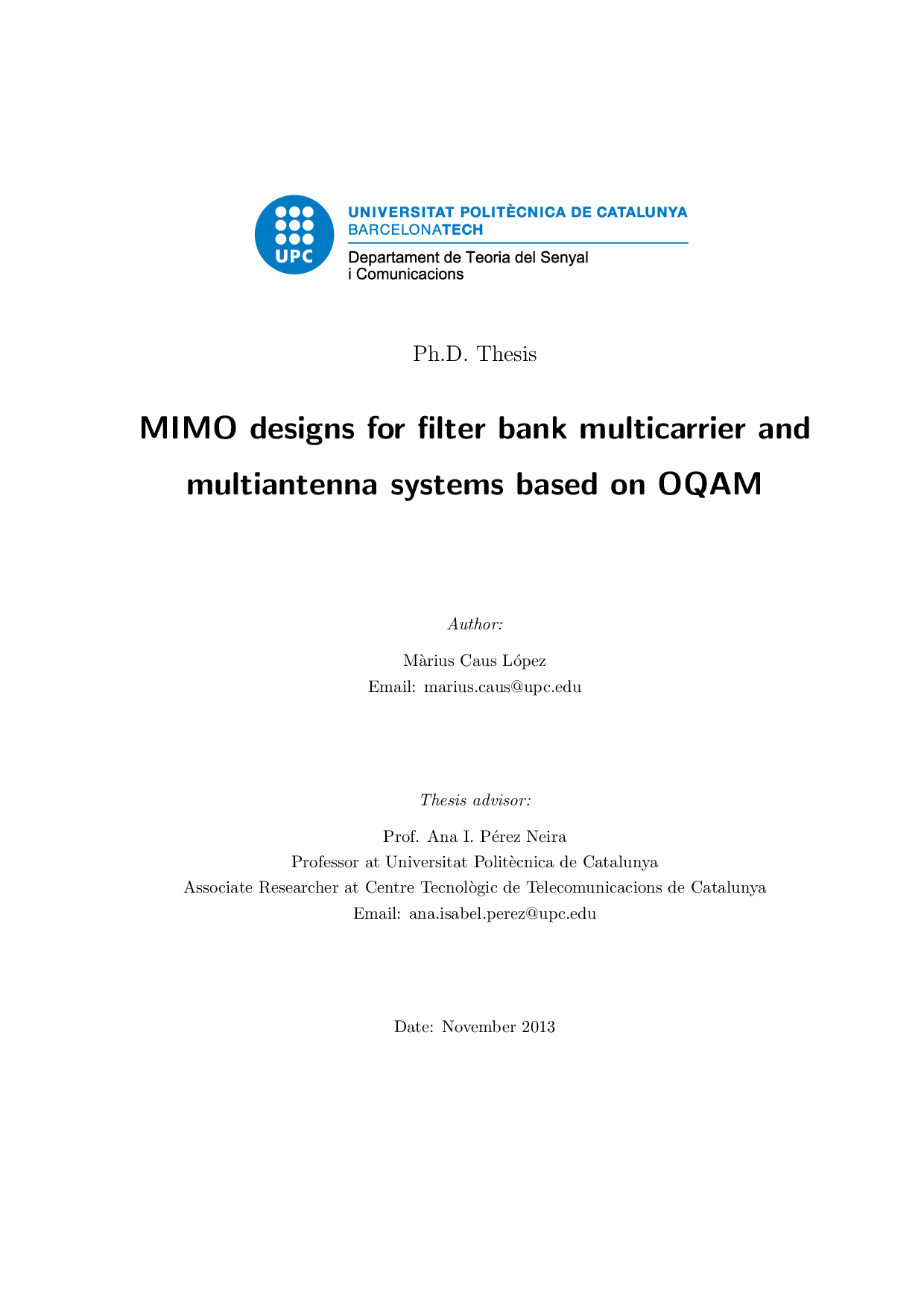 mimo designs for filter bank multicarrier and multiantenna systems  thumbnail of page 1 of mimo designs for filter bank multicarrier and multiantenna systems based on