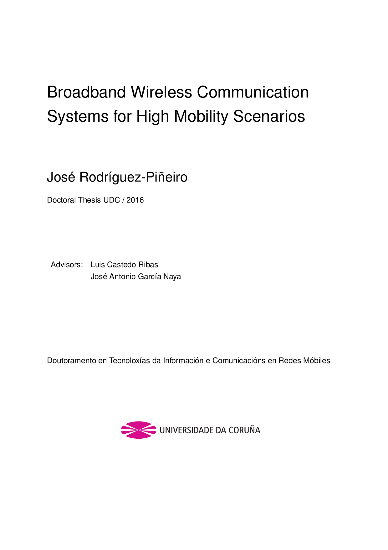 Broadband Wireless Communication Systems for High Mobility ...