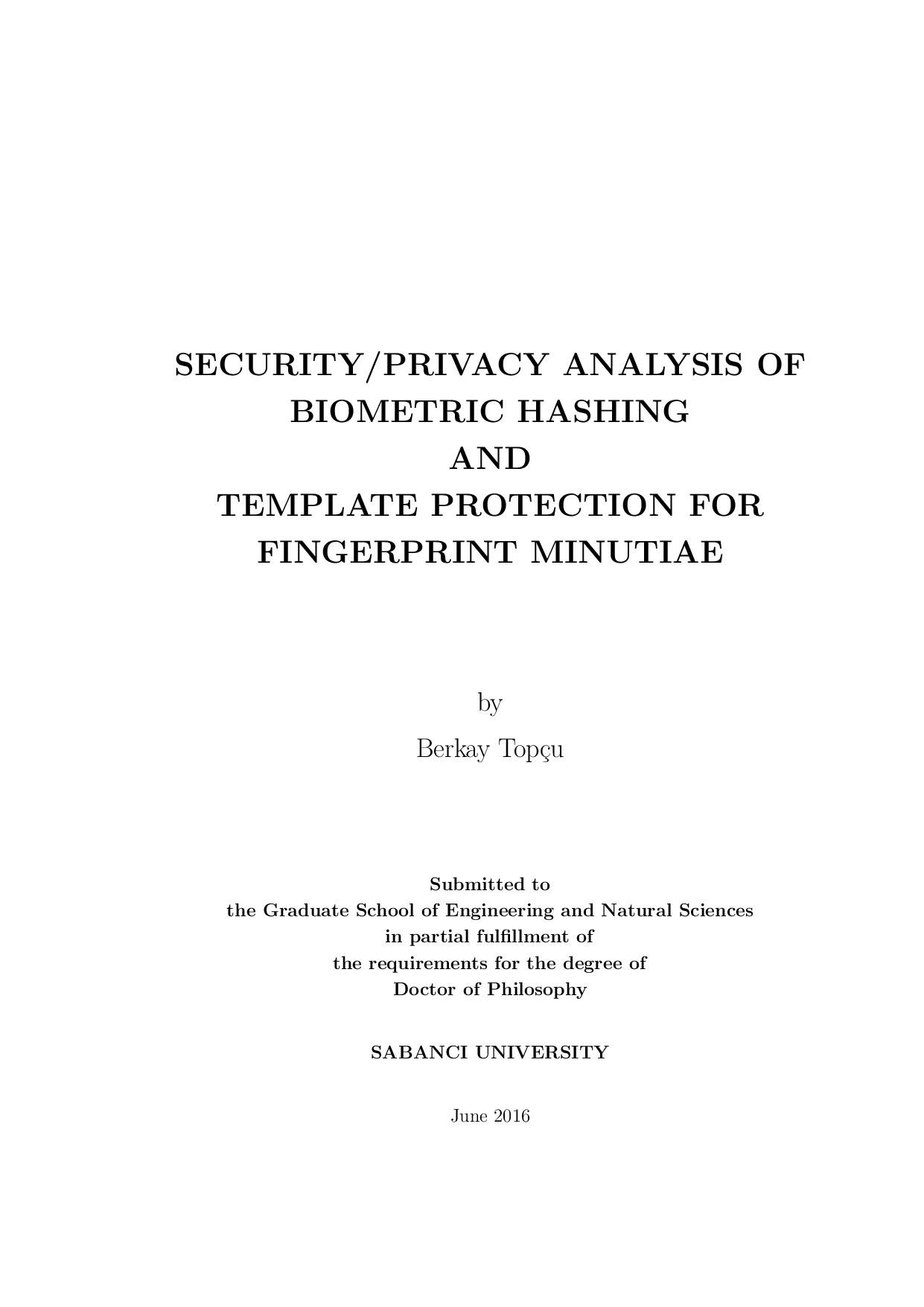 SecurityPrivacy Analysis Of Biometric Hashing And Template - Privacy page template