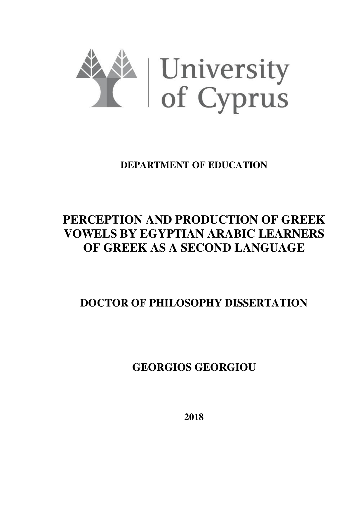 Perception and Production of Greek Vowels by Egyptian Arabic