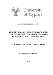 Thumbnail of page 2 of Perception and Production of Greek Vowels by Egyptian Arabic Learners of Greek as a Second Language