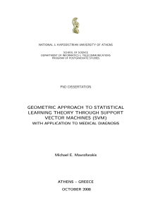 Thumbnail of Geometric Approach to Statistical Learning Theory through Support Vector Machines (SVM) with Application to Medical Diagnosis
