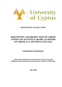 Thumbnail of page 3 of Perception and Production of Greek Vowels by Egyptian Arabic Learners of Greek as a Second Language