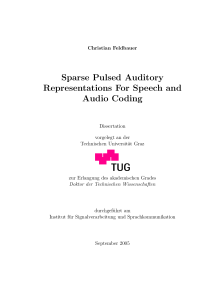 Thumbnail of Sparse Pulsed Auditory Representations For Speech and Audio Coding