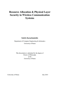 Thumbnail of Resource Allocation & Physical Layer Security inWireless Communication Systems