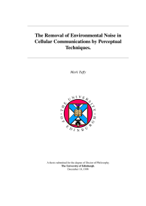 Thumbnail of The Removal of Environmental Noise in Cellular Communications by Perceptual Techniques