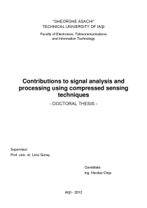 Thumbnail of page 1 of Contributions to signal analysis and processing using compressed sensing techniques