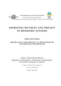 Thumbnail of Improving Security and Privacy in Biometric Systems