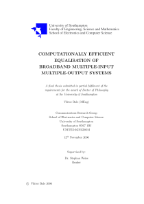 Thumbnail of Computationally Efficient Equalisation of Broadband Multiple-Input Multiple-Output Systems