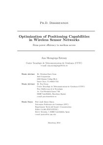 Thumbnail of Optimization of Positioning Capabilities in Wireless Sensor Networks: from power efficiency to medium access