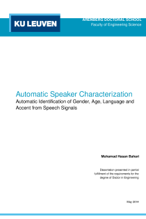 Thumbnail of page 1 of Automatic Speaker Characterization; Identification of Gender, Age, Language and Accent from Speech Signals
