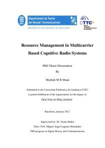 Thumbnail of Resource Management in Multicarrier Based Cognitive Radio Systems