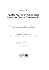 Thumbnail of Quality Aspects of Packet-Based Interactive Speech Communication