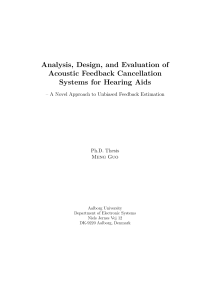 Thumbnail of Analysis, Design, and Evaluation of Acoustic Feedback Cancellation Systems for Hearing Aids