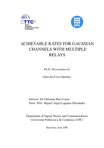 Thumbnail of ACHIEVABLE RATES FOR GAUSSIAN CHANNELS WITH MULTIPLE RELAYS
