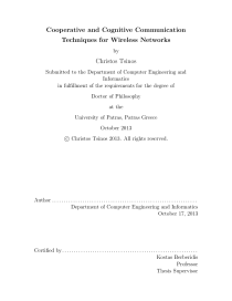 Thumbnail of page 1 of Cooperative and Cognitive Communication Techniques for Wireless Networks