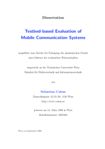 Thumbnail of Testbed-based Evaluation of Mobile Communication Systems