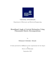 Thumbnail of Broadband angle of arrival estimation using polynomial matrix decompositions