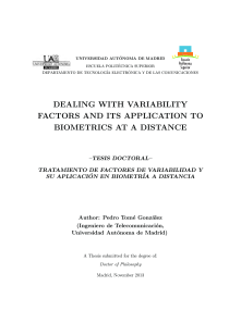 Thumbnail of page 1 of Dealing with Variability Factors and Its Application to Biometrics at a Distance