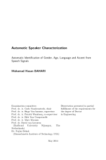 Thumbnail of page 3 of Automatic Speaker Characterization; Identification of Gender, Age, Language and Accent from Speech Signals