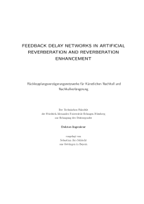 Thumbnail of page 1 of Feedback Delay Networks in Artificial Reverberation and Reverberation Enhancement