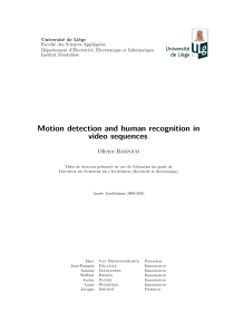 Thumbnail of Motion detection and human recognition in video sequences