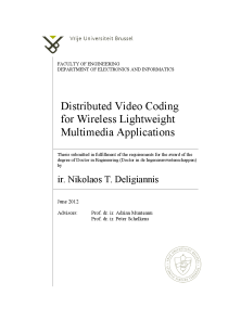 Thumbnail of Distributed Video Coding for Wireless Lightweight Multimedia Applications