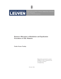 Thumbnail of page 1 of Resource Allocation in Modulation and Equalization Procedures in DSL Modems