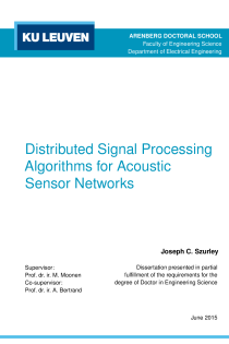 Thumbnail of Distributed Signal Processing Algorithms for Acoustic Sensor Networks