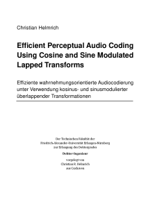Thumbnail of page 1 of Efficient Perceptual Audio Coding Using Cosine and Sine Modulated Lapped Transforms